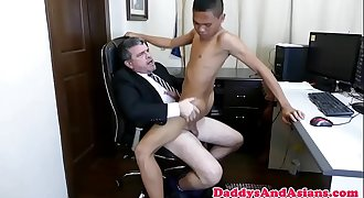Asian youngster blows his american boss