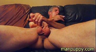 Men Smoking Fetish - Manpuppy cums in Private Gaysex Cam Show