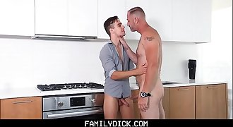 FamilyDick - Scruffy step dad catches son naked and fucks his pretty mouth