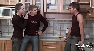 TWINK BOY MEDIA Kitchen Twink Threesome