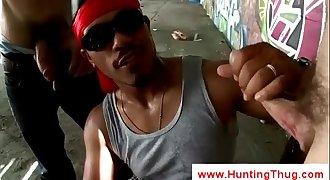 Two white boys sharing black thugs fuckholes