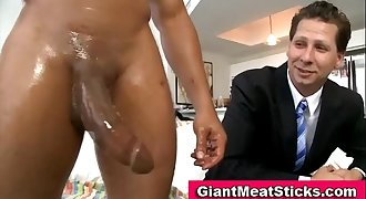 Gay interracial big cock blowjob